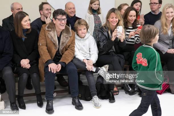 Marc Lavoine son Milo and Sarah Lavoine attends the Bonpoint Winter 2018 show as part of Paris Fashion Week January 24 2018 in Paris France