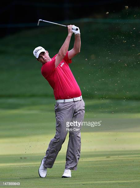 Marc Leishman hit his second shot to the 11th hole during Round One of the ATT National at Congressional Country Club on June 28 2012 in Bethesda...