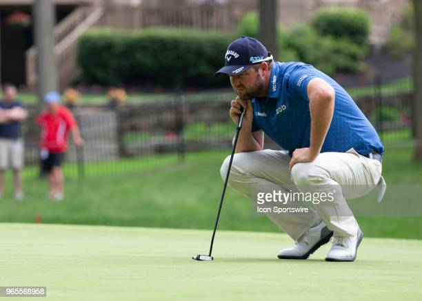 Marc Leishman lines up his putt during the second round of the Memorial Tournament at Muirfield Village Golf Club in Dublin Ohio on June 01 2018