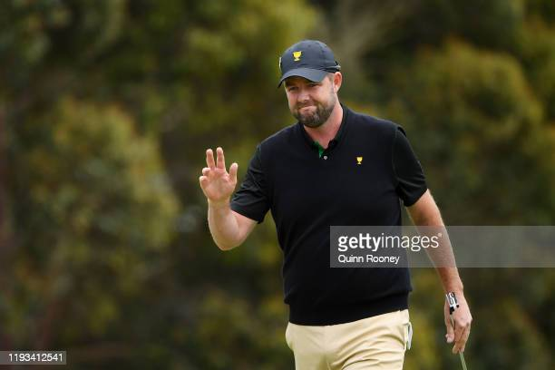 Marc Leishman of Australia and the International team reacts on the 12th green during Thursday fourball matches on day one of the 2019 Presidents Cup...