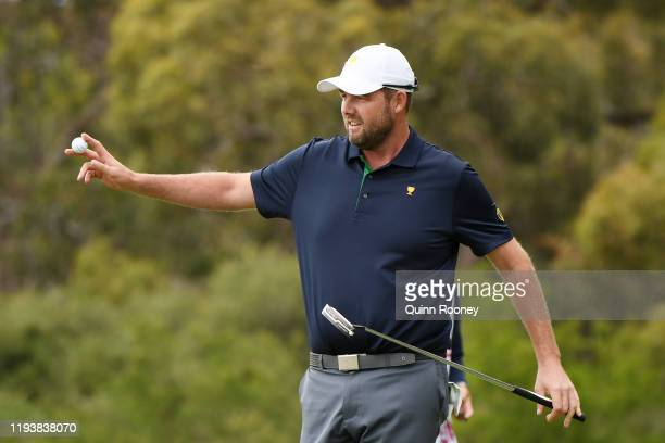 Marc Leishman of Australia and the International team reacts on the 11th green during Saturday afternoon foursomes matches on day three of the 2019...