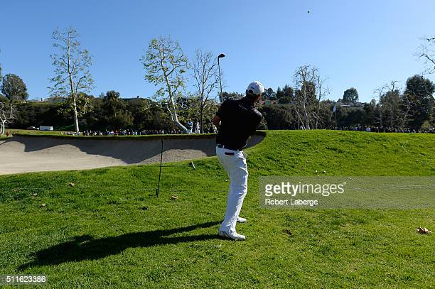 Marc Leishman of Australia chips onto the 15th hole during the final round of the Northern Trust Open at Riviera Country Club on February 21 2016 in...