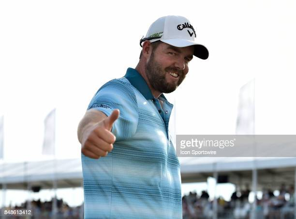 Marc Leishman of Australia gives the thumbs up after winning the BMW Championship on September 17 2017 at Conway Farms Golf Club in Lake Forest...