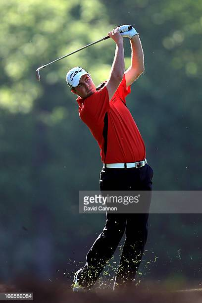 Marc Leishman of Australia hits a shot on the 14th hole during the third round of the 2013 Masters Tournament at Augusta National Golf Club on April...