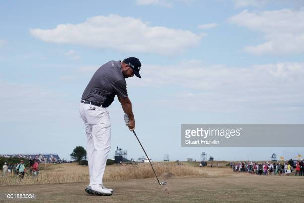 Marc Leishman of Australia hits a tee shot during the first round of the 147th Open Championship at Carnoustie Golf Club on July 19 2018 in...