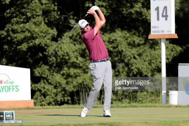 Marc Leishman of Australia hits from the 14th tee during the Final Round of the Dell Technologies Championship on September 3 at TPC Boston in...