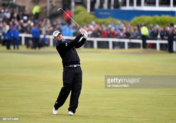 Marc Leishman of Australia hits his second shot on the first hole during the play off of the 144th Open Championship at The Old Course on July 20,...
