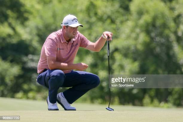 Marc Leishman of Australia lines up his putt on during the second round of the 50th anniversary AT&T Byron Nelson on May 18, 2018 at Trinity Forest...