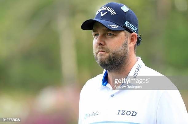 Marc Leishman of Australia looks on from the 14th hole during the second round of the 2018 Masters Tournament at Augusta National Golf Club on April...