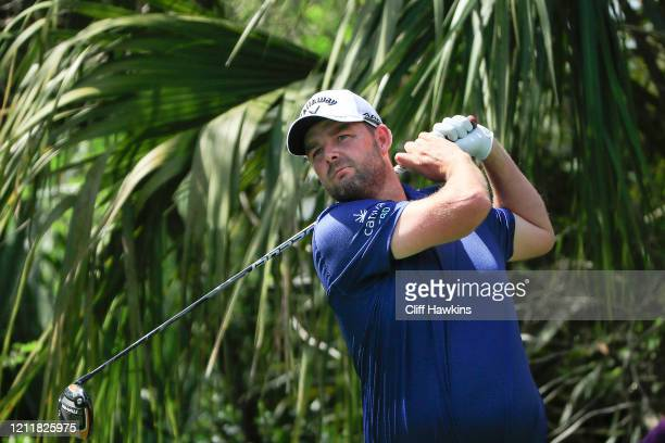 Marc Leishman of Australia plays a shot during a practice round prior to The PLAYERS Championship on The Stadium Course at TPC Sawgrass on March 11...