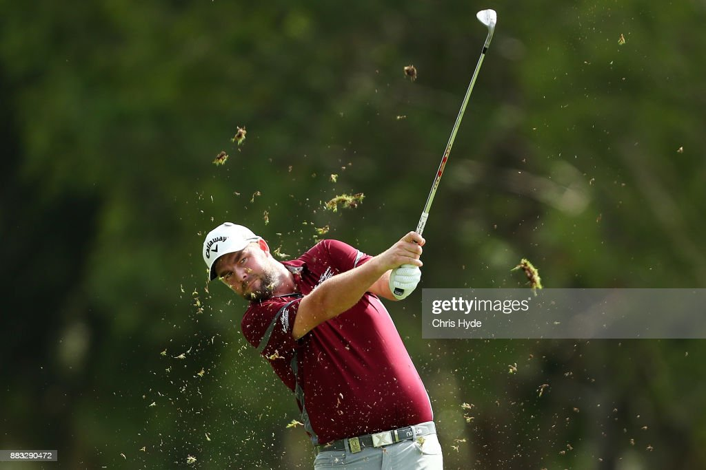 Marc Leishman of Australia plays a shot during day two of the Australian PGA Championship at Royal Pines Resort on December 1, 2017 in Gold Coast, Australia.