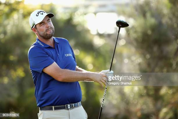 Marc Leishman of Australia plays a shot during the proam tournament prior to the Sony Open In Hawaii at Waialae Country Club on January 10 2018 in...