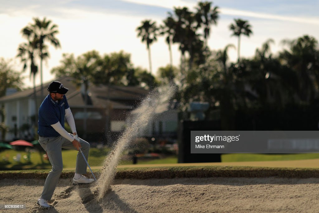 Marc Leishman of Australia plays a shot from a bunker on the 16th hole during the second round at the Arnold Palmer Invitational Presented By MasterCard at Bay Hill Club and Lodge on March 16, 2018 in Orlando, Florida.