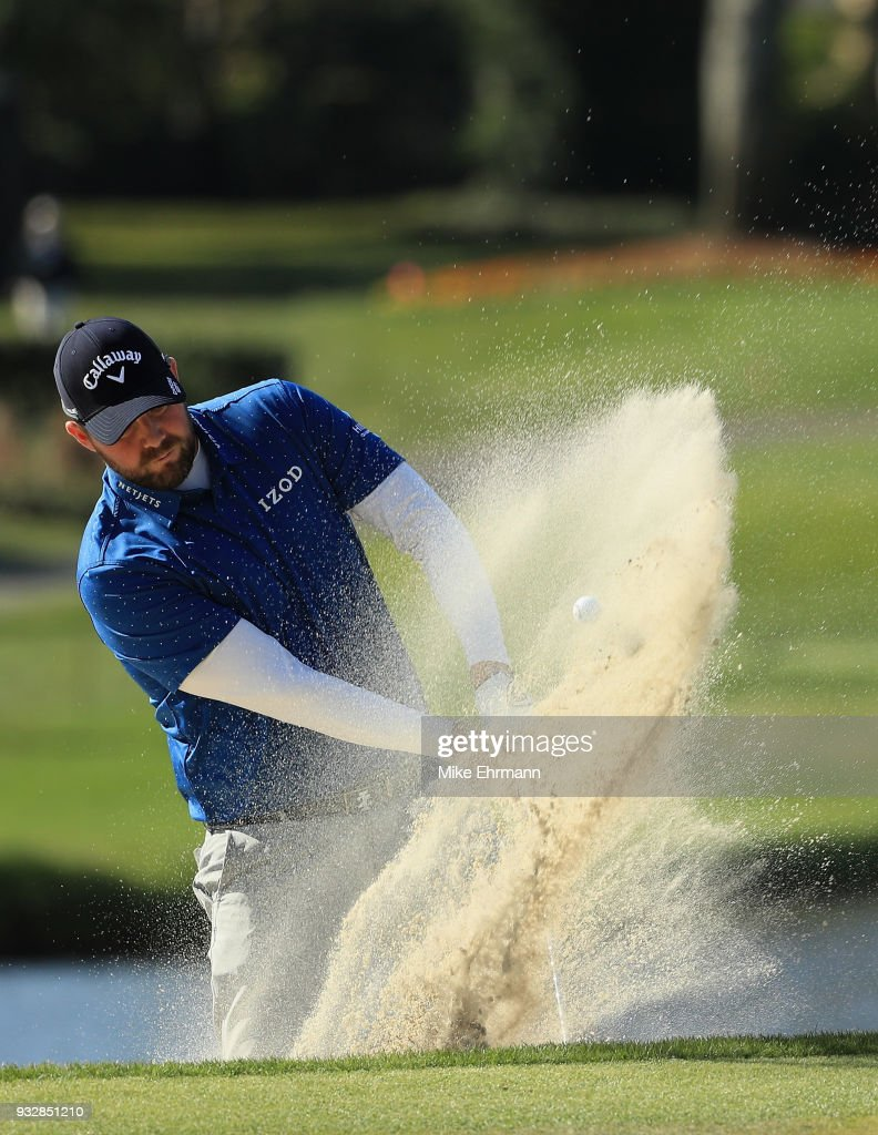 Marc Leishman of Australia plays a shot from a bunker on the 17th hole during the second round at the Arnold Palmer Invitational Presented By MasterCard at Bay Hill Club and Lodge on March 16, 2018 in Orlando, Florida.