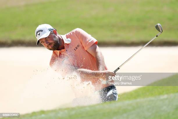 Marc Leishman of Australia plays a shot from a bunker on the seventh hole during the second round of the World Golf ChampionshipsDell Match Play at...