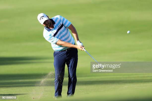 Marc Leishman of Australia plays a shot on the 15th hole during the second round of the Sentry Tournament of Champions at Plantation Course at...