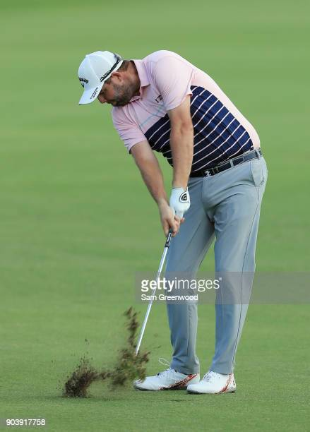 Marc Leishman of Australia plays a shot on the 16th hole during round one of the Sony Open In Hawaii at Waialae Country Club on January 11 2018 in...