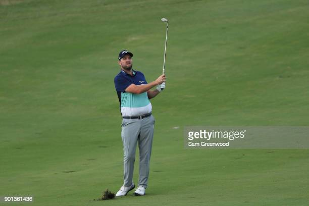 Marc Leishman of Australia plays a shot on the 16th hole during the first round of the Sentry Tournament of Champions at Plantation Course at Kapalua...