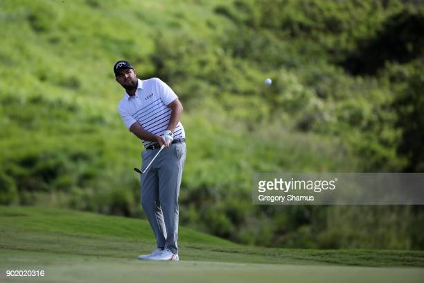 Marc Leishman of Australia plays a shot on the 18th hole during the third round of the Sentry Tournament of Champions at Plantation Course at Kapalua...