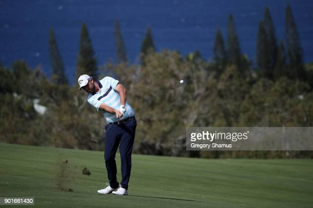 Marc Leishman of Australia plays a shot on the fourth hole during the second round of the Sentry Tournament of Champions at Plantation Course at...