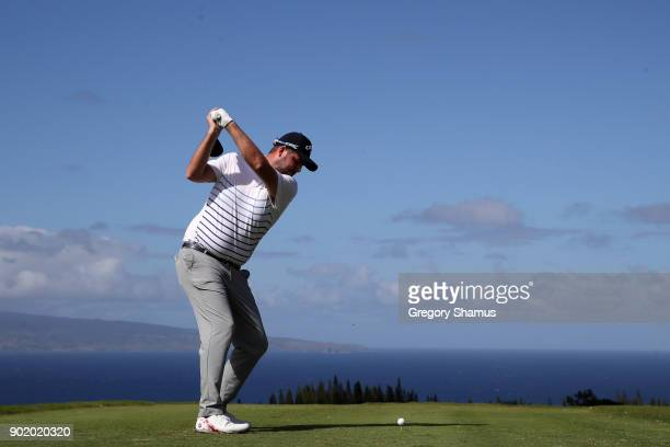 Marc Leishman of Australia plays his shot from the 17th tee during the third round of the Sentry Tournament of Champions at Plantation Course at...