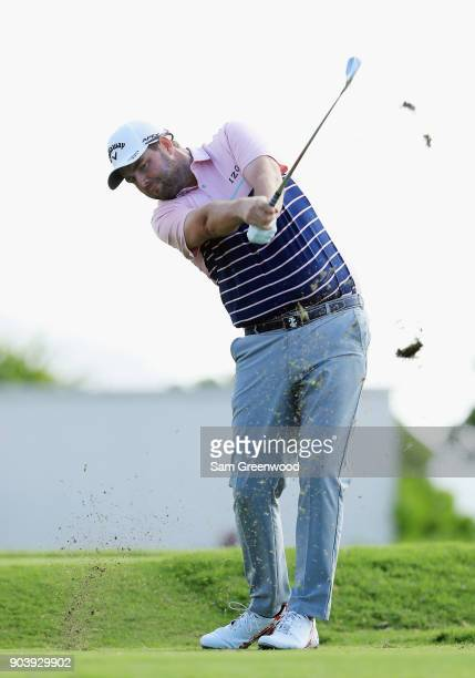 Marc Leishman of Australia plays his shot from the 17th tee during round one of the Sony Open In Hawaii at Waialae Country Club on January 11 2018 in...
