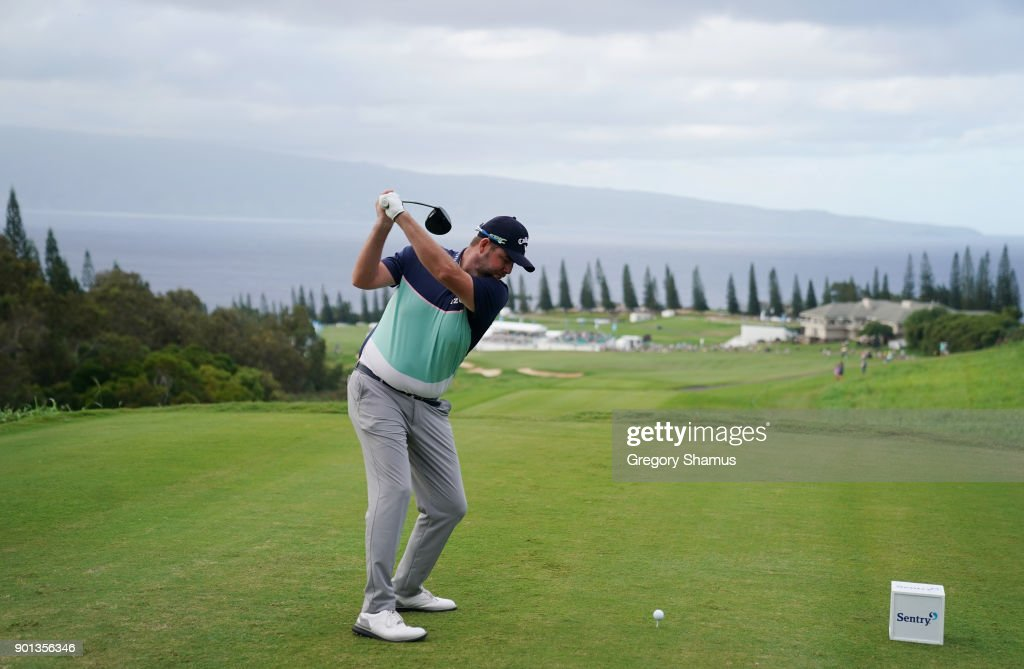 Marc Leishman of Australia plays his shot from the 18th tee during the first round of the Sentry Tournament of Champions at Plantation Course at Kapalua Golf Club on January 4, 2018 in Lahaina, Hawaii.