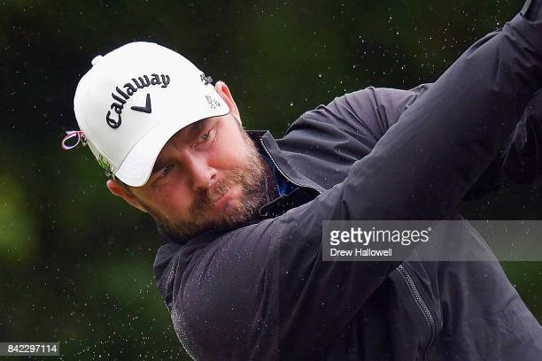 Marc Leishman of Australia plays his shot from the fourth tee during round three of the Dell Technologies Championship at TPC Boston on September 3...
