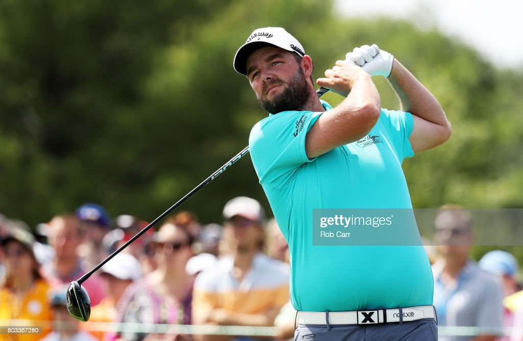 Marc Leishman of Australia plays his shot from the second tee during the first round of the Quicken Loans National on June 29, 2017 TPC Potomac in Potomac, Maryland.