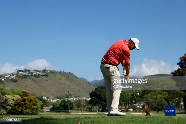 Marc Leishman of Australia plays his shot from the seventh tee during the second round of the Sony Open in Hawaii at the Waialae Country Club on...