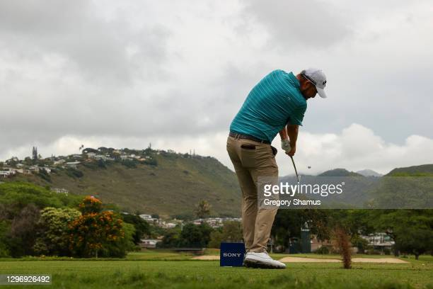 Marc Leishman of Australia plays his shot from the seventh tee during the final round of the Sony Open in Hawaii at the Waialae Country Club on...