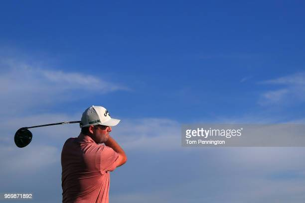 Marc Leishman of Australia plays his tee shot on the 11th hole during the second round of the ATT Byron Nelson at Trinity Forest Golf Club on May 18...