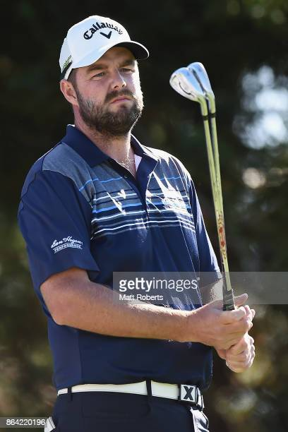 Marc Leishman of Australia prepares for his tee shot on the 18th hole during the third round of the CJ Cup at Nine Bridges on October 21 2017 in Jeju...