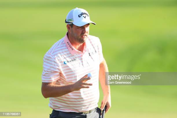 Marc Leishman of Australia reacts after a eagle on the second hole during the first round of The PLAYERS Championship on The Stadium Course at TPC...