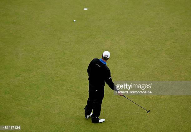 Marc Leishman of Australia reacts after missing a birdie putt on 18th hole during the final round of the 144th Open Championship at The Old Course on...