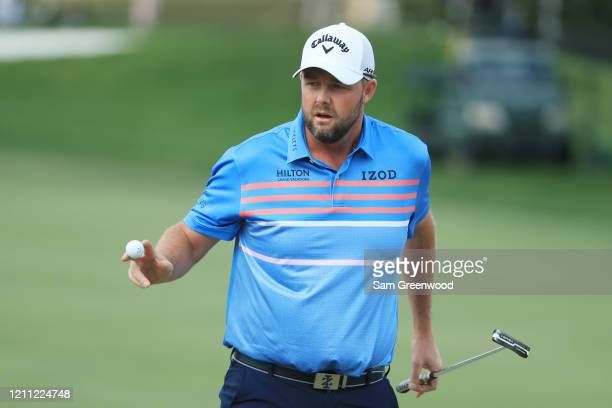 Marc Leishman of Australia reacts during the final round of the Arnold Palmer Invitational Presented by MasterCard at the Bay Hill Club and Lodge on...