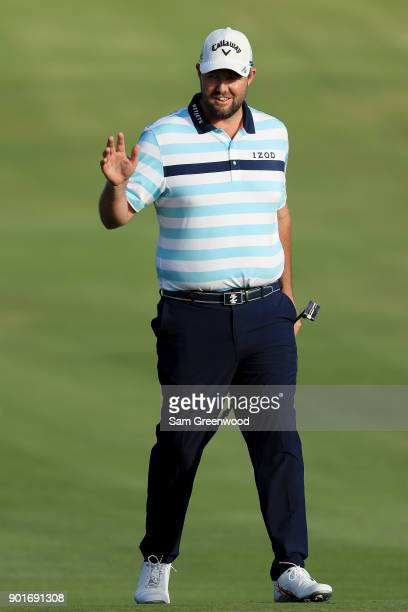 Marc Leishman of Australia reacts on the 16th green during the second round of the Sentry Tournament of Champions at Plantation Course at Kapalua...