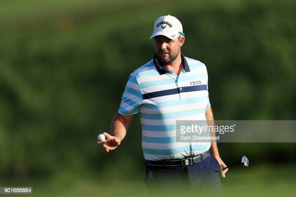 Marc Leishman of Australia reacts on the 17th green during the second round of the Sentry Tournament of Champions at Plantation Course at Kapalua...