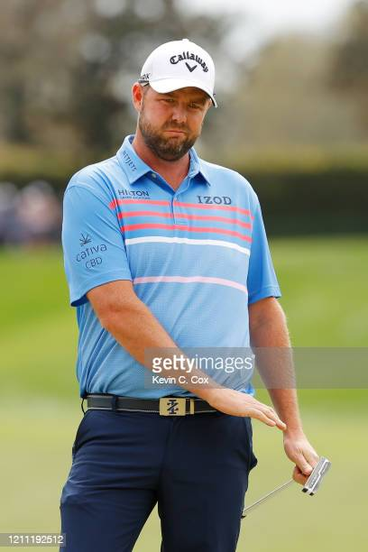 Marc Leishman of Australia reacts on the second green during the final round of the Arnold Palmer Invitational Presented by MasterCard at the Bay...