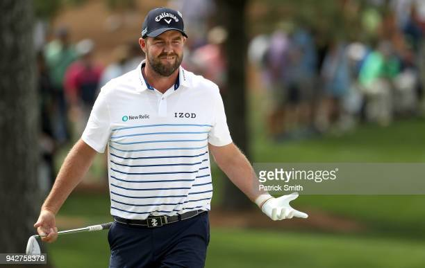 Marc Leishman of Australia reacts on the seventh green during the second round of the 2018 Masters Tournament at Augusta National Golf Club on April...