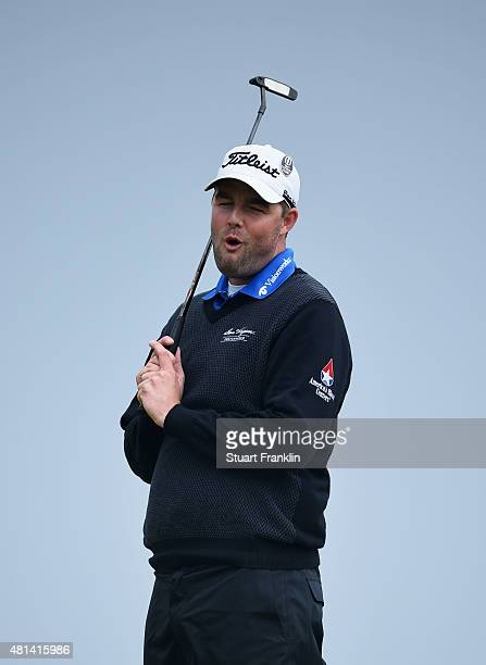 Marc Leishman of Australia reacts to a putt on the 13th green during the final round of the 144th Open Championship at The Old Course on July 20 2015...