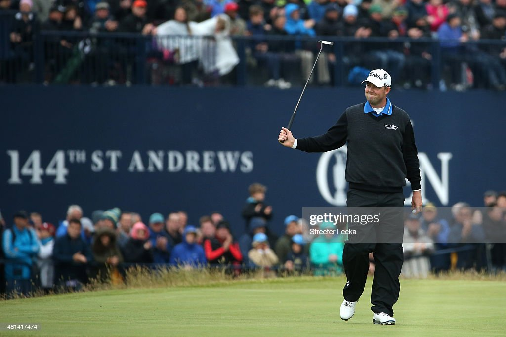 Marc Leishman of Australia reacts to a putt on the 17th hole during the final round of the 144th Open Championship at The Old Course on July 20, 2015 in St Andrews, Scotland.