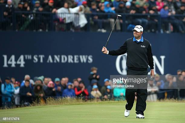 Marc Leishman of Australia reacts to a putt on the 17th hole during the final round of the 144th Open Championship at The Old Course on July 20 2015...