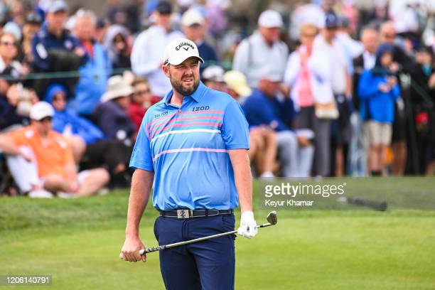 Marc Leishman of Australia reacts to his chip shot to the sixth hole green during the final round of the Arnold Palmer Invitational presented by...