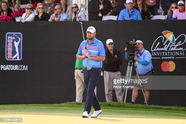 Marc Leishman of Australia reacts to missing a birdie putt on the 17th hole green during the final round of the Arnold Palmer Invitational presented...