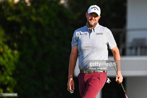 Marc Leishman of Australia smiles on the 16th hole green during the third round of the Arnold Palmer Invitational presented by MasterCard at Bay Hill...