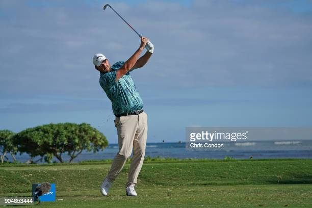 Marc Leishman of Australia tees off on the 17th hole during the third round of the Sony Open in Hawaii at Waialae Country Club on January 13 2018 in...