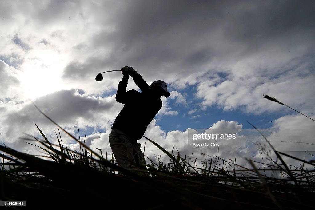Marc Leishman of Australia tees off on the 4th hole during a practice round ahead of the 145th Open Championship at Royal Troon on July 13, 2016 in Troon, Scotland.