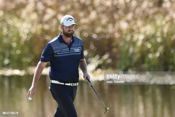 Marc Leishman of Australia walks off the 5th green during the third round of the CJ Cup at Nine Bridges on October 21 2017 in Jeju South Korea