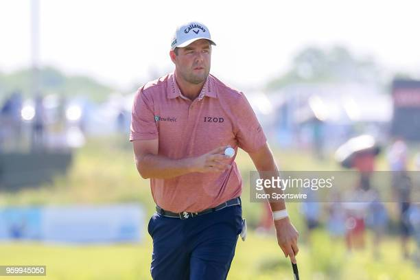 Marc Leishman of Australia waves at the gallery on during the second round of the 50th anniversary AT&T Byron Nelson on May 18, 2018 at Trinity...